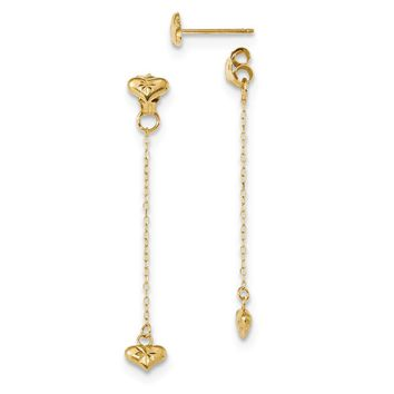 14K Yellow Gold Satin Diamond Cut Heart Dangle Front and Back Post Earrings