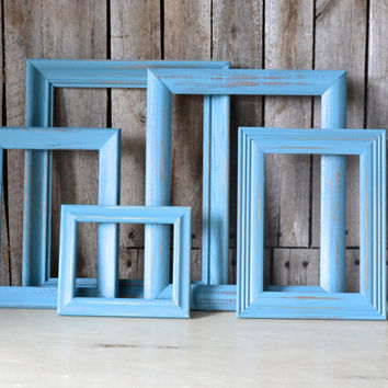Set of 5 Distressed Turquoise Wooden Picture Frames