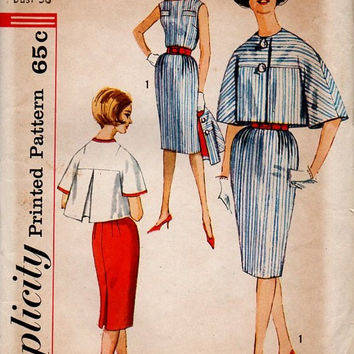 Simplicity 3865 Sewing Pattern 60s Jackie O Style Sleeveless Dress Bolero Swing Jacket Flared Sleeves Straight Fitted Skirt Uncut Bust 36