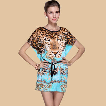 New Fashion Cool Summer woman european Plus Size Ice Silk Tiger Print Dresses Loose Novelty Print Beach Dress vestidos cortos