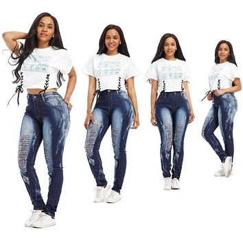 Summer Women Denim Skinny Ripped Pant High Waist Stretch Hole Jeans Trousers