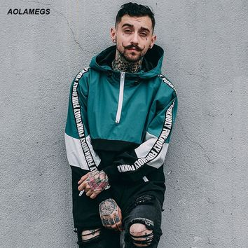 Aolamegs Men Hoodies Fashion Harajuku Loose Hoody Tops Windbreaker Youth Couple Contrast Color Hip Hop High Street Wear Pullover