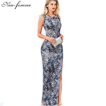 Nice-forever Sexy Bohemian Summer Animal With Tiger Contrast Color Women Sleeveless Maxi Split Prom Bodycon Long Dress b218