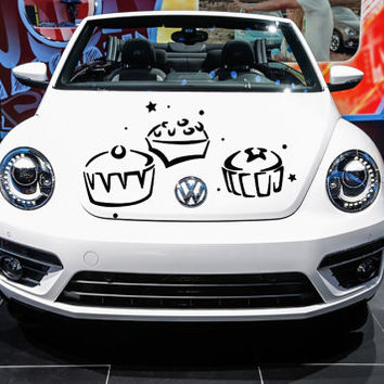Vinyl Decal Sticker for Car Hood  fits any Auto Vehicle Stylish Cupcakes with Dots and Stars TK74 in 25 Colors