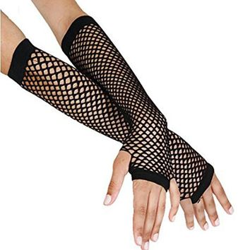 2017 Stylish Delicate Long Black Fishnet Gloves Womens Fingerless Gloves Girls Dance Gothic Punk Rock Costume Fancy Party