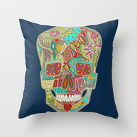 flower skull Throw Pillow by Sharon Turner | Society6