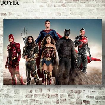 Justice League Movie Poster DC COMICS Superheroes Wall Art Canvas Print The Flash Aquaman Superman Wonder Woman Batman Cyborg