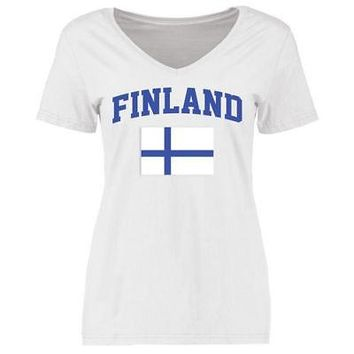 Licensed Sports Finland Women's Flag T-Shirt - White KO_20_2