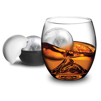 On the ROCK  Glass with Ice Ball Maker at Brookstone—Buy Now!