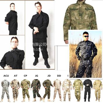 USMC BDU Inspired Military Tactical Hunting Airsoft Combat Gear Training Uniform Suits Shirt + Pants  A-TACS FG Multicam ACU