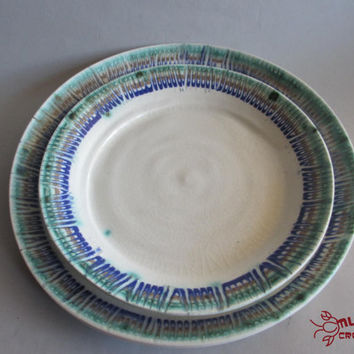 Porcelain Plate Set - Green, Tan, and Blue Decorated Rim