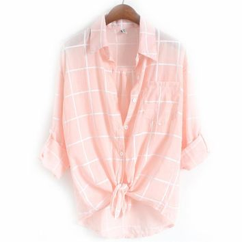 Simplicity Autumn Women Plaid Blouses Woman Shirts Loose Blusas Single Breasted Style Top Office Female Linen Clothes Shirt L008