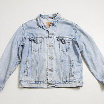 Vintage LEVI'S Denim Jacket - 1980s Distressed Blue Jean Jacket - Large / XL 50""