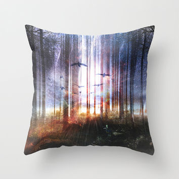Absinthe forest Throw Pillow by HappyMelvin