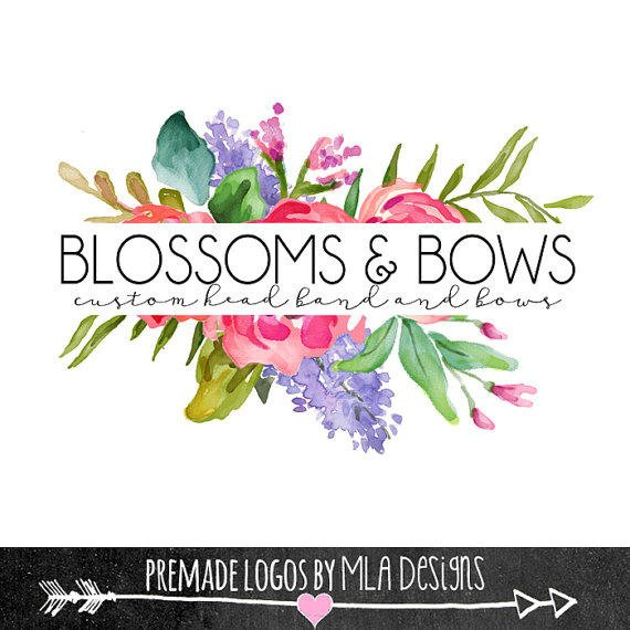 Flower Watercolor Logo Premade Logos From Mladesigns On