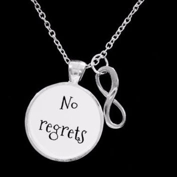 No Regrets Infinity Inspirational Motivational Gift Necklace