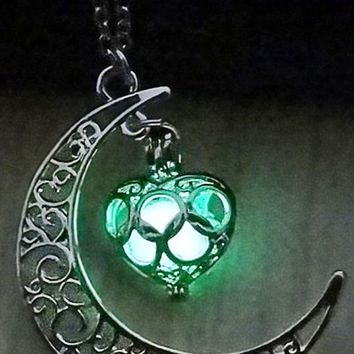Atomic Green Glow In The Dark Moon Heart Necklace