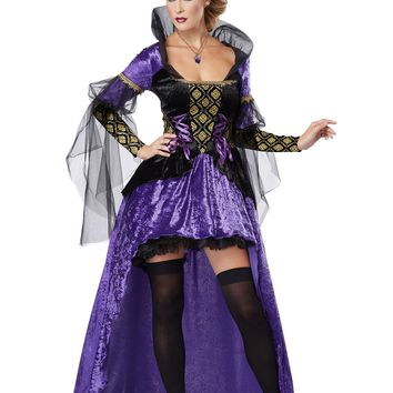 Purple Black Wicked Queen Costume (Large,Black/Purple)