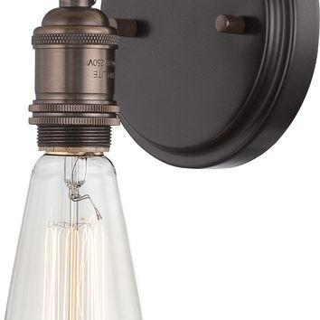 Wall Sconce and Vintage Light Bulb in Rustic Bronze Finish