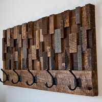 Coat Rack Reclaimed wood art 35.5x18.5x4.5