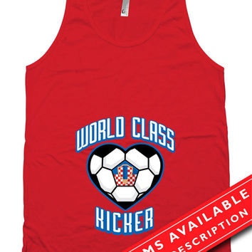 Soccer Pregnancy Announcement Tank Top Gifts For Expecting Mother Soccer Shirts For Mom Croatian Soccer Fan American Apparel Tanks MD-651