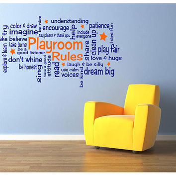 "Playroom Rules 30"" x 15"" Vinyl Wall Decal - 2 COLOR"