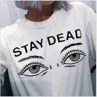 Short Sleeve Strong Character Print Round-neck Casual T-shirts [7767319751]