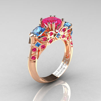 Classic 18K Rose Gold Three Stone Princess Pink Sapphire Blue Topaz Solitaire Engagement Ring R500-18KRGBTPS