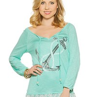 Anchor Peasant Graphic Top
