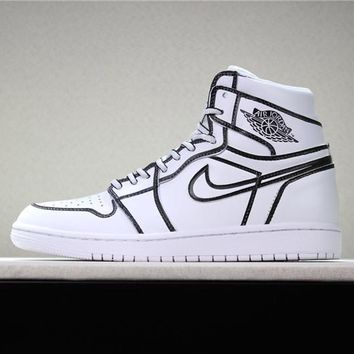 "Air Jordan 1 Retro ""Hand Painted"" Basketball Shoe 36-46"
