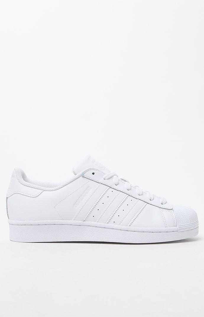adidas White Stripe Superstar Low-Top Sneakers - Womens Shoes - White cb6184652a