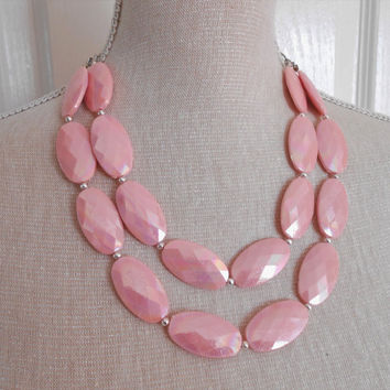 Pink necklace, Chunky necklace, Bib necklace, women gifts, gift for her,  mother day gifts, Christmas gift, statement jewelry