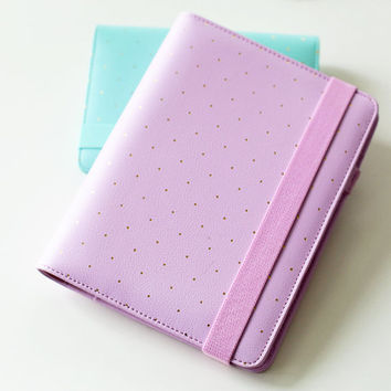 A5 Lilac Pink Journal Planner/Refillable planner/ A6 Gold Polka Dot planner/NB012