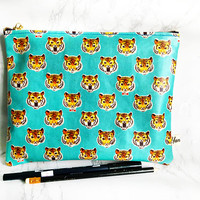 Tokyo Tiger Animal Pouch, Waterproof Tiger Clutch Bag, Costmetic Bag, Back to school Pouch, Kindle paperwhite sleeve, brush case,make-up bag
