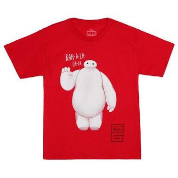 Big Hero 6 Baymax Fist Bump Disney Licensed Kid's Youth T-Shirt - Red