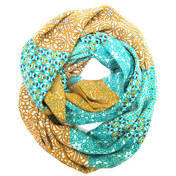 Womens Scarf Silk Infinity Scarf Double Loop Scarf Circle Scarf Tangerine Turquoise Cream Plum Ready To Ship