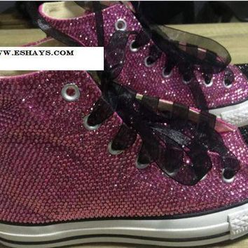 1b732257fad5 CREYUG7 Purple Black Sparkly High Top Converse with Ribbon Laces