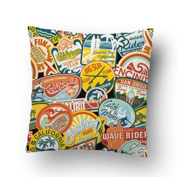 Surfer Bedding California Vintage Surf Stickers Throw Pillow Case