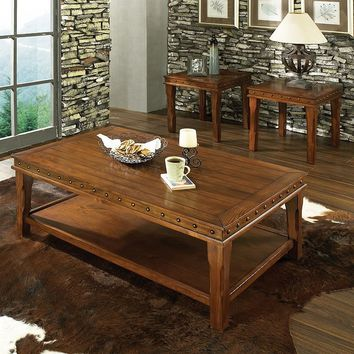 Odessa 3-piece Coffee & End Table Set (Honey Pine)