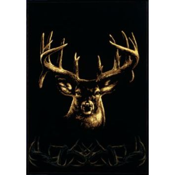 Unique Western Rustic Country Lodge Cabin Home Office Wildlife Buck Wear Rug Area Rug