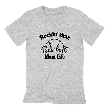 Rocking that baseball mom life v neck shirt, gift for mom, mommy   V Neck T Shirt
