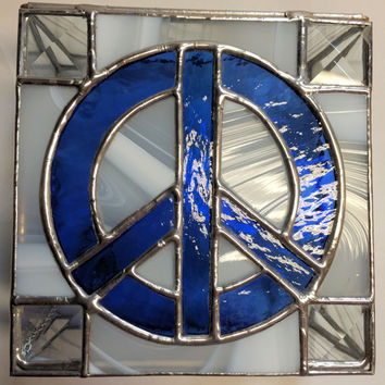 Contemporary Stained Glass Box - Keepsake Box - PeaceSign Box - Retro - Blue (PLG059)