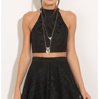 Skirts > Halter Lace Two Piece Set In Black