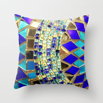 mosaic and beads Throw Pillow by Sylvia Cook Photography