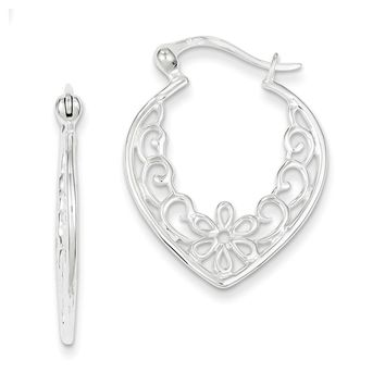 Sterling Silver Filigree Heart Hoop Earrings