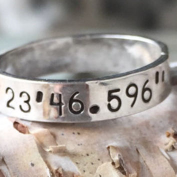 Coordinates Ring - Sterling Silver | Latitude Longitude Ring - Personalized Ring - Lat Lon Ring
