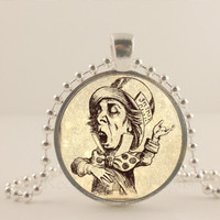 "Alice and Wonderland. Mad Hatter. 1"" glass and metal Pendant necklace Jewelry."