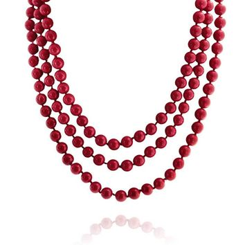 Red Color Beads Endless Layering Long Strand Necklace Women 69 Inch