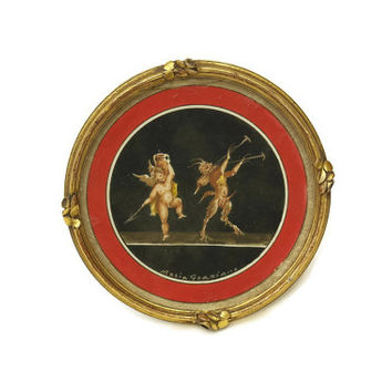 Pompeii Fresco of Cherub and Satyr. Miniature Painting by Maria Graziano. Gouache Painting in Round Frame. Angel and Devil Art.