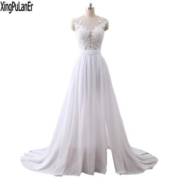 Glamours XingPuLanEr vestido de noiva A Line O Neck Cap Sleeve Lace Appliques Romantic See Through Long Wedding Dress For Brides
